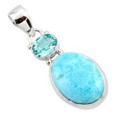 13.22cts natural blue larimar topaz 925 sterling silver pendant jewelry r43722