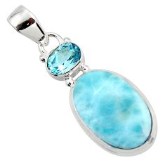 13.51cts natural blue larimar topaz 925 sterling silver pendant jewelry r43726