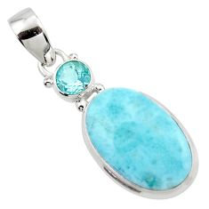 12.70cts natural blue larimar topaz 925 sterling silver pendant jewelry r43728