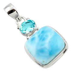 17.65cts natural blue larimar topaz 925 sterling silver pendant jewelry r43729