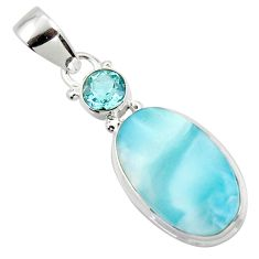 12.90cts natural blue larimar topaz 925 sterling silver pendant jewelry r43731