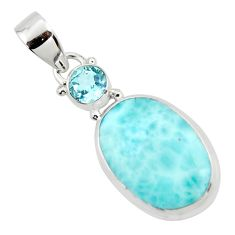 13.73cts natural blue larimar topaz 925 sterling silver pendant jewelry r43732