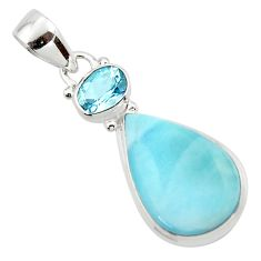 12.98cts natural blue larimar topaz 925 sterling silver pendant jewelry r43733