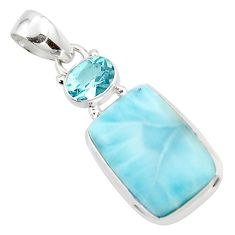 14.35cts natural blue larimar topaz 925 sterling silver pendant jewelry r43734