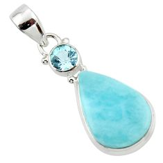 12.70cts natural blue larimar topaz 925 sterling silver pendant jewelry r43737
