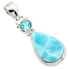 13.05cts natural blue larimar topaz 925 sterling silver pendant jewelry r43747