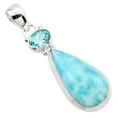 14.40cts natural blue larimar topaz 925 sterling silver pendant jewelry r43750