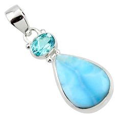13.20cts natural blue larimar topaz 925 sterling silver pendant jewelry r43752