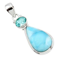 14.55cts natural blue larimar topaz 925 sterling silver pendant jewelry r43759