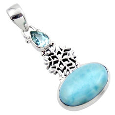 14.31cts natural blue larimar topaz 925 sterling silver pendant jewelry r43782