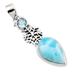 14.77cts natural blue larimar topaz 925 sterling silver pendant jewelry r43784