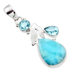 13.66cts natural blue larimar topaz 925 sterling silver pendant jewelry r43786