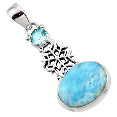 13.61cts natural blue larimar topaz 925 sterling silver pendant jewelry r43791