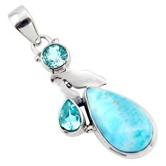11.53cts natural blue larimar topaz 925 sterling silver pendant jewelry r43795
