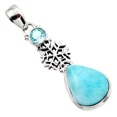 10.69cts natural blue larimar topaz 925 sterling silver pendant jewelry r43805