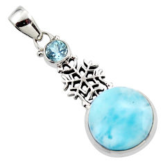 15.60cts natural blue larimar topaz 925 sterling silver pendant jewelry r43810