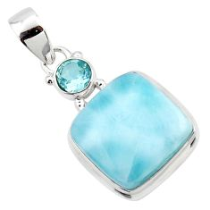 16.48cts natural blue larimar topaz 925 sterling silver pendant jewelry r43818