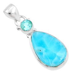 10.02cts natural blue larimar topaz 925 sterling silver pendant jewelry r68021