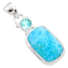 8.40cts natural blue larimar topaz 925 sterling silver pendant jewelry r68037