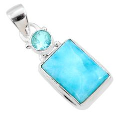 7.17cts natural blue larimar topaz 925 sterling silver pendant jewelry r68038