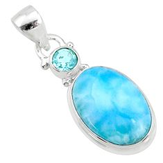 11.57cts natural blue larimar topaz 925 sterling silver pendant jewelry r69331