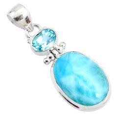 15.65cts natural blue larimar topaz 925 silver handmade pendant r73302