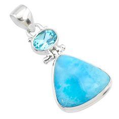 15.05cts natural blue larimar topaz 925 silver handmade pendant r73318