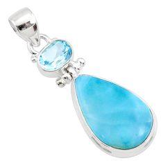 16.20cts natural blue larimar topaz 925 silver handmade pendantr73322