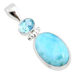 14.72cts natural blue larimar topaz 925 silver handmade pendantr73323