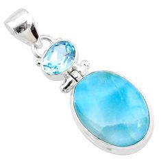 15.08cts natural blue larimar topaz 925 silver handmade pendantr73325