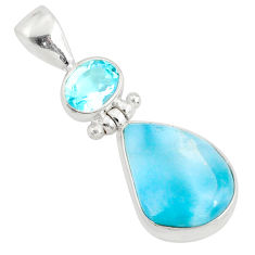 10.79cts natural blue larimar topaz 925 silver handmade pendant r76405