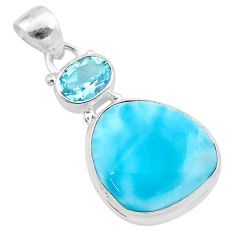 15.55cts natural blue larimar topaz 925 sterling silver pendant jewelry t24498