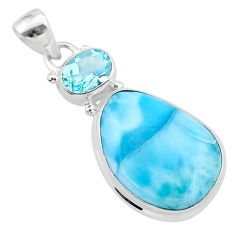 16.06cts natural blue larimar topaz 925 sterling silver pendant jewelry t24505