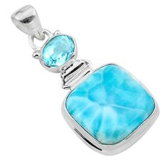 16.54cts natural blue larimar topaz 925 sterling silver pendant jewelry t24517