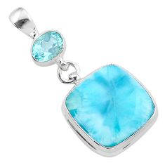 16.03cts natural blue larimar topaz 925 sterling silver pendant jewelry t24541
