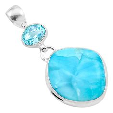 16.46cts natural blue larimar topaz 925 sterling silver pendant jewelry t24549