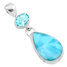 11.71cts natural blue larimar topaz 925 sterling silver pendant jewelry t24555