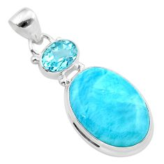 15.02cts natural blue larimar topaz 925 sterling silver pendant jewelry t24559
