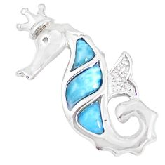 Natural blue larimar topaz 925 sterling silver seahorse pendant a48951 c15334
