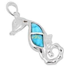 Natural blue larimar topaz 925 sterling silver seahorse pendant a57012 c15329