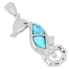 Natural blue larimar topaz 925 sterling silver seahorse pendant a57015 c15333