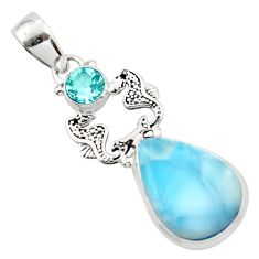 14.01cts natural blue larimar topaz 925 sterling silver seahorse pendant r43769