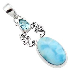 13.48cts natural blue larimar topaz 925 sterling silver seahorse pendant r43781