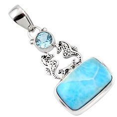 11.57cts natural blue larimar topaz 925 sterling silver seahorse pendant r43788