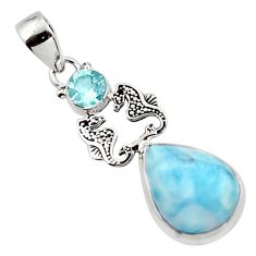 13.66cts natural blue larimar topaz 925 sterling silver seahorse pendant r43789