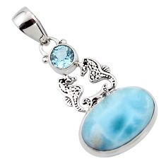 13.78cts natural blue larimar topaz 925 sterling silver seahorse pendant r43790