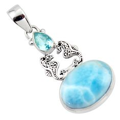 13.84cts natural blue larimar topaz 925 sterling silver seahorse pendant r43793