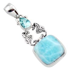 14.01cts natural blue larimar topaz 925 sterling silver seahorse pendant r43798