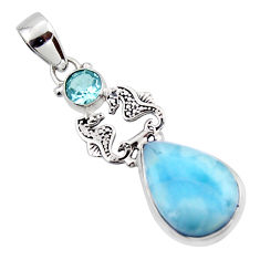 11.81cts natural blue larimar topaz 925 sterling silver seahorse pendant r43800