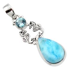 13.09cts natural blue larimar topaz 925 sterling silver seahorse pendant r43808